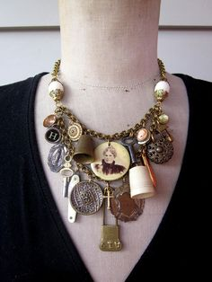 Double layer vintage charm necklace