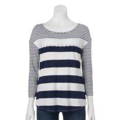 32b1fca91c58b Striped Crochet Tee Lauren Conrad Collection