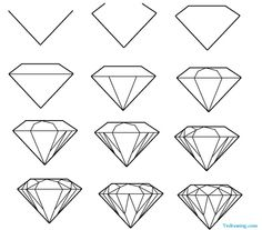 How to draw a simple diamond Tattoo ideas in 2019 Diamond diamond drawing - Drawing Tips Drawing Lessons, Drawing Techniques, Drawing Ideas, Drawing Drawing, Drawing Pictures, Drawing Guide, Sketch Ideas, Daisy Drawing, Cool Easy Drawings