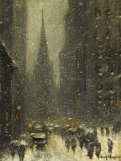 """""""Old Trinity, New York Winter,"""" Guy Carleton Wiggins, 1930, oil on canvas, 16 x 12"""", private collection."""