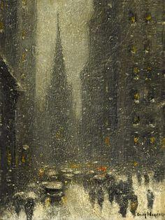"GUY CARLETON WIGGINS (AMERICAN 1883-1962) ""OLD TRINITY, NEW YORK WINTER"""
