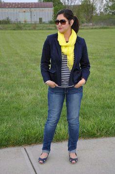 Navy blue blazer yellow scarf