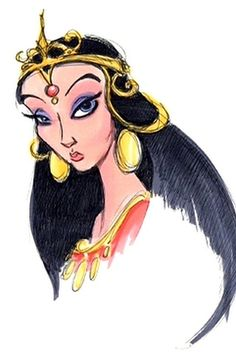Jasmine | 19 Disney Characters That Could Have Looked Completely Different This sketch of Jasmine seems more inspired by Edgar Rice Burroughs' book, A Princess Of Mars