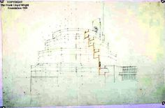 Perspective showing section through ramps for the Gordon Strong Automobile Objective. Office of Frank Lloyd Wright. Graphite and colored pencil on tracing paper, ca. 1925. The Frank Lloyd Wright Foundation, Scottsdale, Arizona (87)