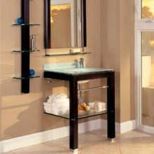 DecoLav 5300T -   http://www.faucetdirect.com/decolav-5300t-28-wood-and-glass-vanity-with-mirror-and-accessory-side-shelf/p265631#