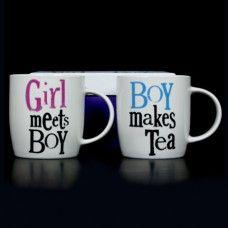 Mugs (set of 2) - Girl Meets Boy / Boy Makes Tea $34.95 - Ahhh, so true!