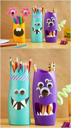 Geometric Colored Pencil Holder - Such a fun and beautiful DIY made out of air dry clay!neat idea for toilet paper rolls. father day crafts for kids -Looking for a pencil holder for your home office desk or your kids' homework station?organizar-com-r Jar Crafts, Diy Crafts For Kids, Arts And Crafts, Plastic Bottle Crafts, Soda Bottle Crafts, Reuse Plastic Bottles, Plastic Art, Recycled Crafts, Cool Diy
