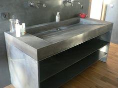 99 Best Farmhouse Bathroom Remodel Decoration Ideas - The Expert Beautiful Ideas Concrete Sink, Concrete Bathroom, Wooden Bathroom, Bathroom Countertops, Diy Bathroom Decor, Bathroom Interior, Interior Design Living Room, Beton Design, Concrete Design