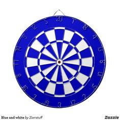 Blue and white dartboard Custom Dart Board, Blue And White, Game Room, American Flag, Vibrant Colors, Great Gifts, Design, American Fl, Vivid Colors