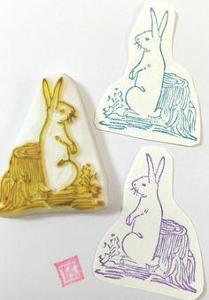 RABBIT SIT Behind WOOD - Hand Carved Rubber Stamp / Hangtag Stamp by KeiWorkshop on Etsy https://www.etsy.com/listing/256662092/rabbit-sit-behind-wood-hand-carved