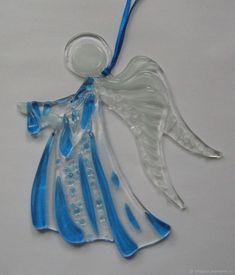 """Подвеска """"Ангел-Хранитель"""" фьюзинг, стекло – купить в интернет-магазине на Ярмарке Мастеров с доставкой"""