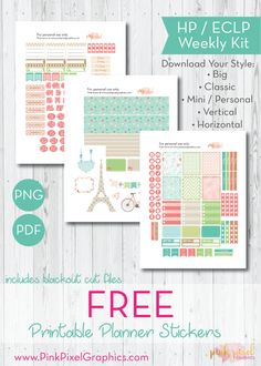 Free Printable Shabby Chic Planner Stickers. See more at www.pinkpixelgraphics.com