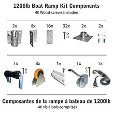 Made in Canada, this Multinauticdo-it-yourself R-1200 Ramp Kit allows you to build your own ramp for small boats or personal watercraft up to 1,200 lbs. Securely dock your boat or PWC on the shore and prevent sand or rock damage to your hull or turbine. No more rubbing on or under the dock, or on sharp brackets due to waves. This ramp allows you to remove your fishing boat's drain plug to make sure it doesn't fill with water and sink. This Kit contains 8-inch x 4-inch wheels & bra...