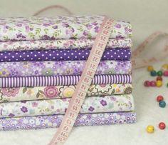 """8 Pre-Cut """" Purple raya del punto impreso floral paquete de tela de algodón DIY Tilda tela que acolcha de la costura Patchwork 50 CM x 50 CM / Pcs"""