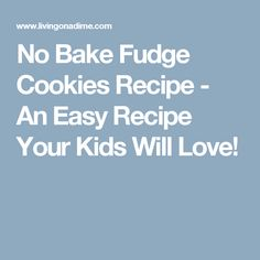 No Bake Fudge Cookies Recipe - An Easy Recipe Your Kids Will Love!