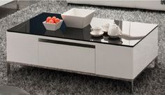 Marthena MF-C917HL Cabris White Painted Glass Top Coffee Table