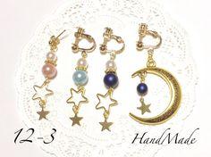 Pearl moon star earring/pierce