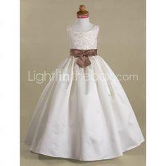 Ball Gown Scoop Floor-length Satin Flower Girl Dress