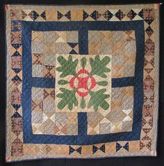 "Quilt From Ohio 19th Century ""Was brought to California by my mother (born in 1911) from Alliance, Ohio during the early years of the Depression. She told me it was made by her mother's grandmother in East Liverpool, Ohio. It has been kept in a cedar chest and is in perfect condition. It is 38"" x 38"". It has not been laundered nor exposed to sunlight."""