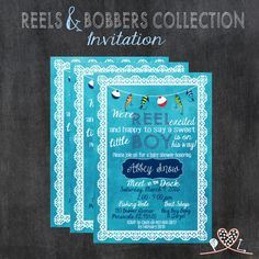 REELS & BOBBERS COLLECTION; Baby Shower Invitation; Baby Boy; Fishing Theme; Bobbers, Lures, Lace; Watercolor Background; Digital Download by PrintableLovelies on Etsy https://www.etsy.com/listing/267221179/reels-bobbers-collection-baby-shower