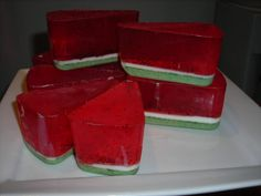 Watermelon soap slices! Fun homemade gift, easy to make in less than one hour.