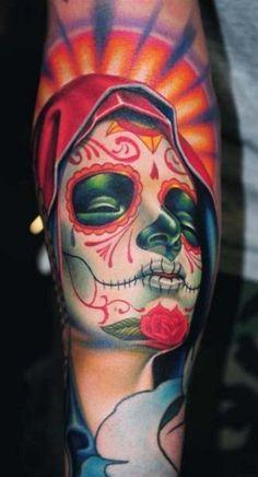 Santa Muerte Style Color Portrait made by Nikko Hurtado