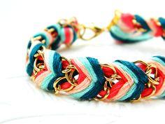 Peach Mint Tea - Neon Coral, Peachy Keen, Aqua Mint, &  Rich Turquoise - Chevron Braided Modern Friendship Bracelet - Gold Chain