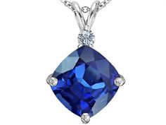 Star K Large 12mm Cushion Cut Simulated Sapphire Pendant Necklace