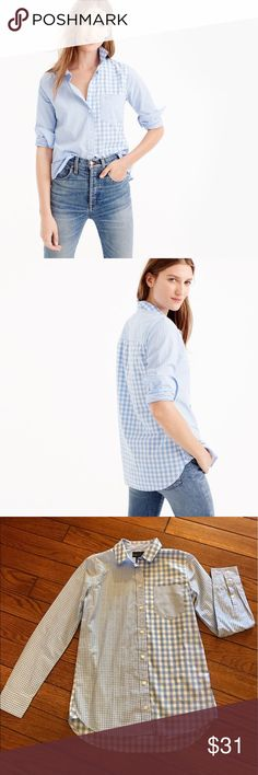 J. Crew Blue Gingham Cocktail Shirt Inspired by our stripey cocktail shirt, we gave this button-up a similarly fun makeover, with a combo of different-scaled gingham prints for a classic-with-a-twist effect. 35 inch bust 27 inches long Cotton. Long roll-up sleeves. Functional buttons at cuffs. Button placket. Machine wash. Import. Item G2190.  100% cotton.  Great condition J. Crew Tops Button Down Shirts