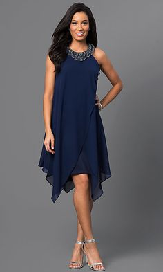Image of sleeveless navy-blue short handkerchief dress Style: SG-ASWKOATR Detail Image 1 Navy Dress Outfits, Fashion Dresses, Cute Dresses, Short Dresses, Formal Dresses, Party Dresses, Blue Wedding Guest Dresses, Formal Wedding, Navy Blue Cocktail Dress