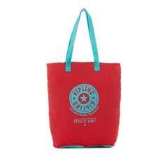 Kipling Hip Hurray Convertible Tote Bag (2.570 RUB) ❤ liked on Polyvore featuring bags, handbags, tote bags, candy red, white tote, white purse, tote handbags, red tote bag and foldable tote