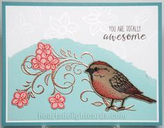 Heart's Delight Cards: Stampin' Up! Best Birds | Birds & Blooms Thinlits |Falling Flowers