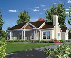 House Plan 95979 | Ranch Traditional Plan with 1368 Sq. Ft., 3 Bedrooms, 2 Bathrooms, 2 Car Garage