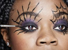 """HALLOWEEN COBWEB EYES: Create the cobwebs using MAC acrylic paint in """"Black Black"""" and a fine liner brush. Add dots above the eyebrows and use them as a guide, extending the lines up. Get the full instructions and tips here."""