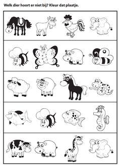 Welk dier hoort er niet bij? [jufmarije.nl] Road Trip With Kids, Zootopia, Activities For Kids, Education, Children, Milan, Cute Little Drawings, Speech Language Therapy, Crowns