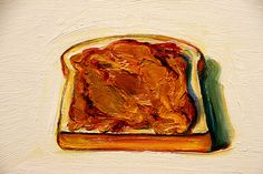 Peanut butter sandwich (Detail) - Wayne Thiebaud, Oil on canvas board, x cm 12 x 16 inches Bay Area, Nouveau Realisme, Peanut Butter Sandwich, Pop Art Movement, Food Painting, Cake Painting, Wayne Thiebaud, Principles Of Art, Painting Still Life