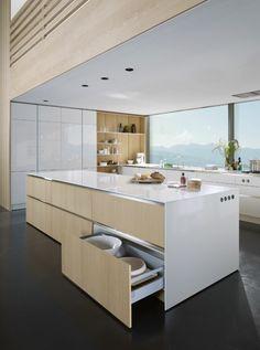 cuisine moderne en blanc et bois
