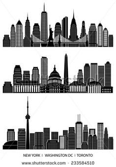 City skyline detailed silhouette set (New York, Washington DC, Toronto). Vector illustration