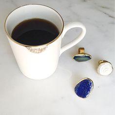 Janna Conner Lapis, Botswana Agate and Agate statement rings. Reiko Kaneko Ltd. Gold kiss coffee mug