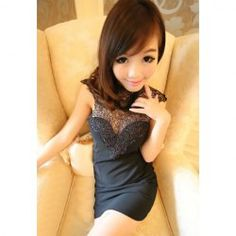 $8.24 Sexy High Neck Lace Splice Backless Design Sleeveless Slimming Club Dress For Women
