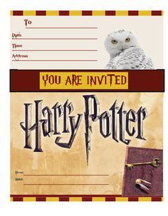 harry potter invitations harry potter