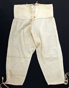 19th Century Early. Drawers, British. Wool, buttoned waist, drawstrings legs. Met Museum. Credit Line: Gift of the family of Thomas Coutts, 1908. metmuseum.org