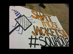 High school football giant run thru sign. Swat those jackets. Cheerleading. Cheer.