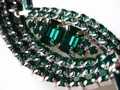 Vintage 50s Sparkling Silver Kramer Emerald Green by SoCalJewelBox