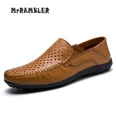 New Shoes Men's Flats Casual Soft Leather Shoes For Men Breathable Cut-outs Leather Slip On Dress Shoes Black Size 45 Loafers