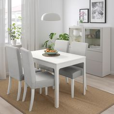 Office Chair Without Wheels Ikea Dining, White Dining Table, Grey Table, Dining Table Chairs, Bar Chairs, Small Table And Chairs, Table Legs, Henriksdal Chair Cover, Glossy Kitchen