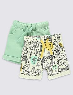 Buy the 2 Pack Pure Cotton Assorted Shorts from Marks and Spencer's range. Toddler Pants, Toddler Outfits, Toddler Boys, Boy Outfits, Kids Shorts, Boy Shorts, Baby Design, Handmade Clothes, Baby Wearing