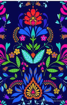 ' Scarf by Elena Belokrinitski - - 'folk pattern - mexican vacation. ' Scarf by Elena Belokrinitski. Mexican Colors, Mexican Flowers, Folk Art Flowers, Flower Art, Mundo Hippie, Mexican Paintings, Owl Paintings, Mexican Pattern, Motif Art Deco