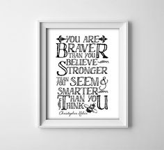 """INSTANT DOWNLOAD 8X10"""" printable digital art """"You are braver than you seem..."""" Winnie the Pooh - Christopher Robin quote - nursery - baby"""