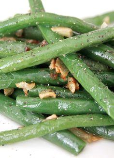 Honey Balsamic Green Beans -- cooked in olive oil with garlic, vinegar, honey, onion powder, salt & freshly cracked black pepper.